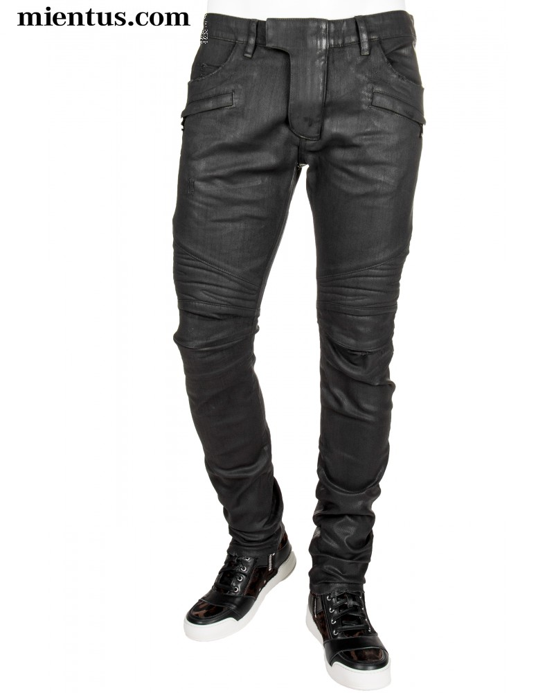 BALMAIN Waxed Biker Jeans