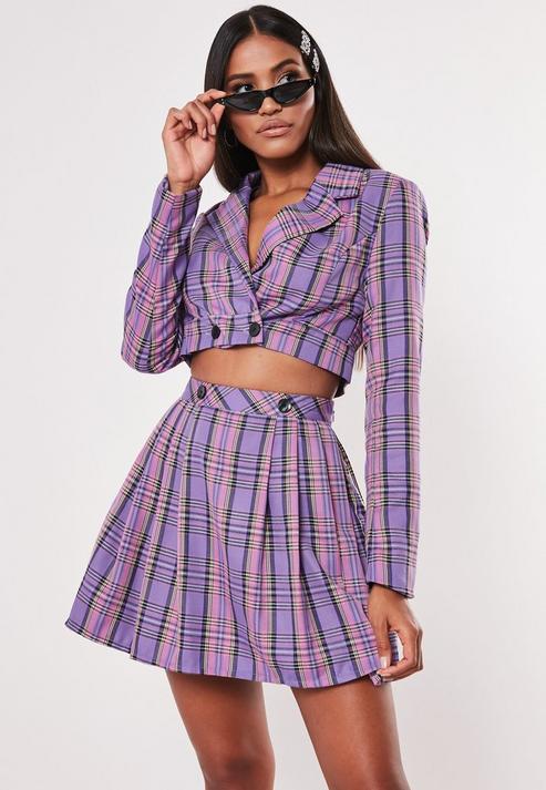 Lilac Check Print Cropped Blazer Co Ord