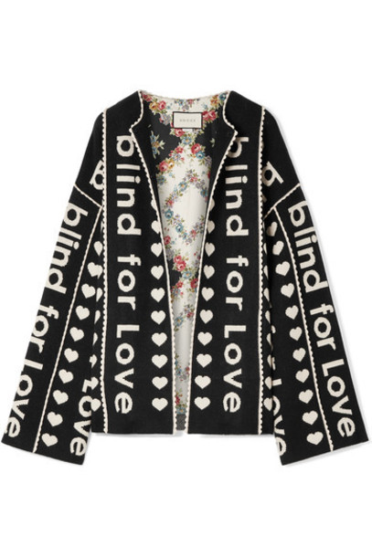 gucci jacket oversized jacquard black wool