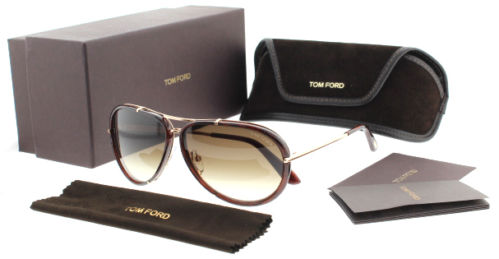 Tom Ford TF 109 Cyrille 28K Brown Gold Unisex Aviator Sunglasses | eBay