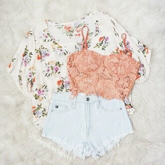 cardigan floral cute cute cardigan kimono love lace lace top shirt shorts white white shorts pink lace pink lace shirt pink lace crop top pink top pink shirt pink crop top tank top