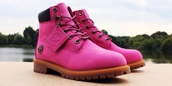 shoes,timberland boots,pink,timberland boots shoes,timbs and crop top,boots,breast cancer awareness
