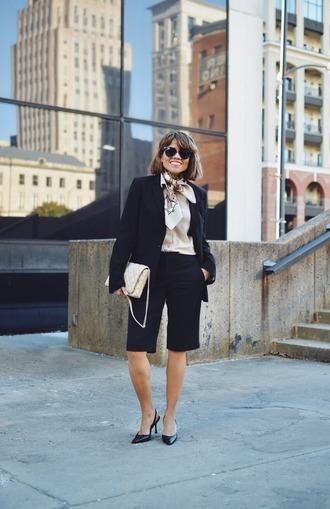 mysmallwardrobe blogger shorts jacket blouse shoes scarf bag sunglasses fall outfits cropped pants suit blazer slingbacks