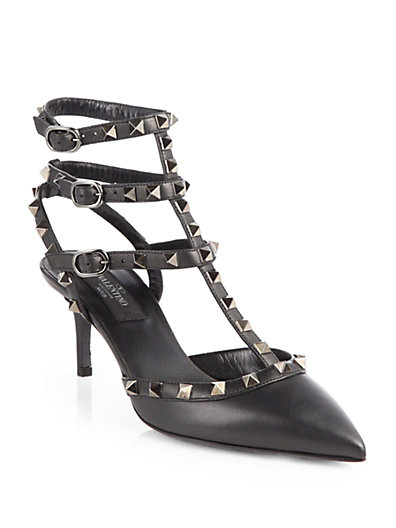 Valentino - Noir Rockstud Leather Pumps - Saks.com