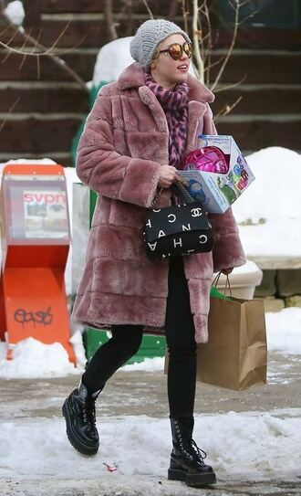 coat sweater winter sweater winter coat winter outfits miley cyrus dusty pink pink coat