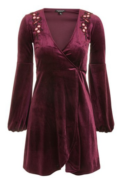 Topshop dress wrap dress embroidered velvet burgundy