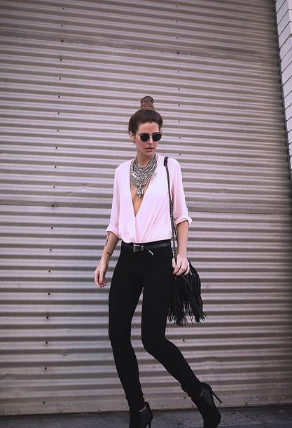 blogger sunglasses jewels top belt bag pants shoes
