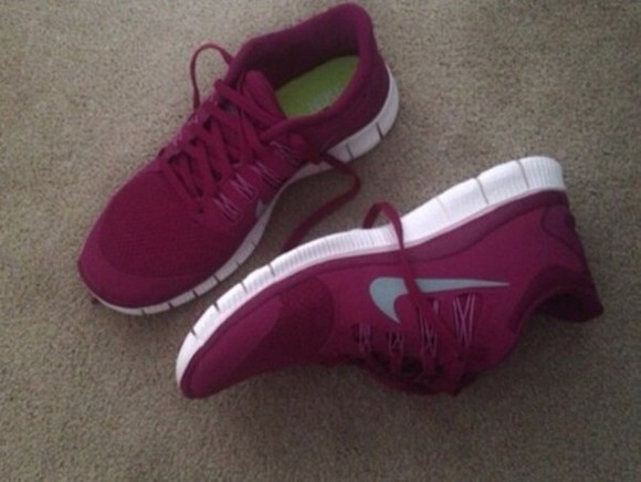 burgundy active wear purple shoes nike free run training shoes hot pink nike sports wear active shoes nike women's shoes sportswear training clothes fit