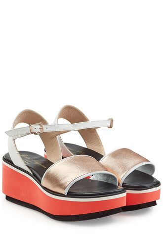 sandals wedge sandals leather multicolor shoes