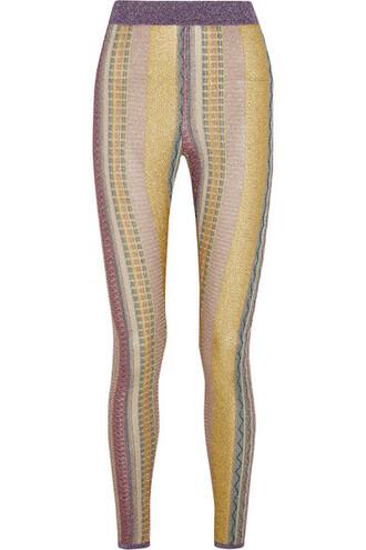 leggings knit metallic gold crochet pants