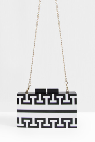women clutch monochrome black bag