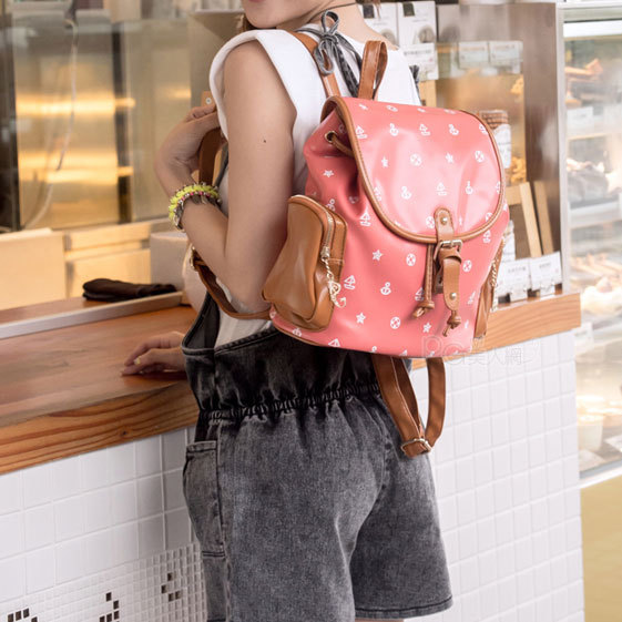 [grhmf22000184] navy style anchor starfish vessel print backpack