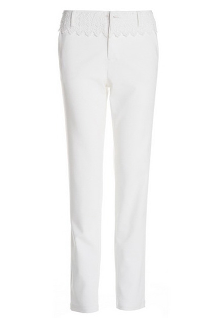 ROMWE | Lace Slim White Pants, The Latest Street Fashion