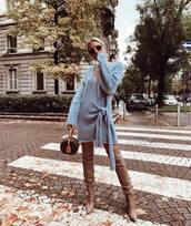 shoes,boots,thigh high boots,high heels boots,handbag,dress,knitted dress,wrap dress,sunglasses