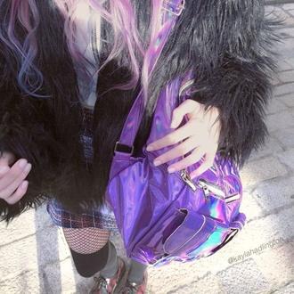 bag aesthetic alternative grunge cyber pale pastel teenagers coat skirt