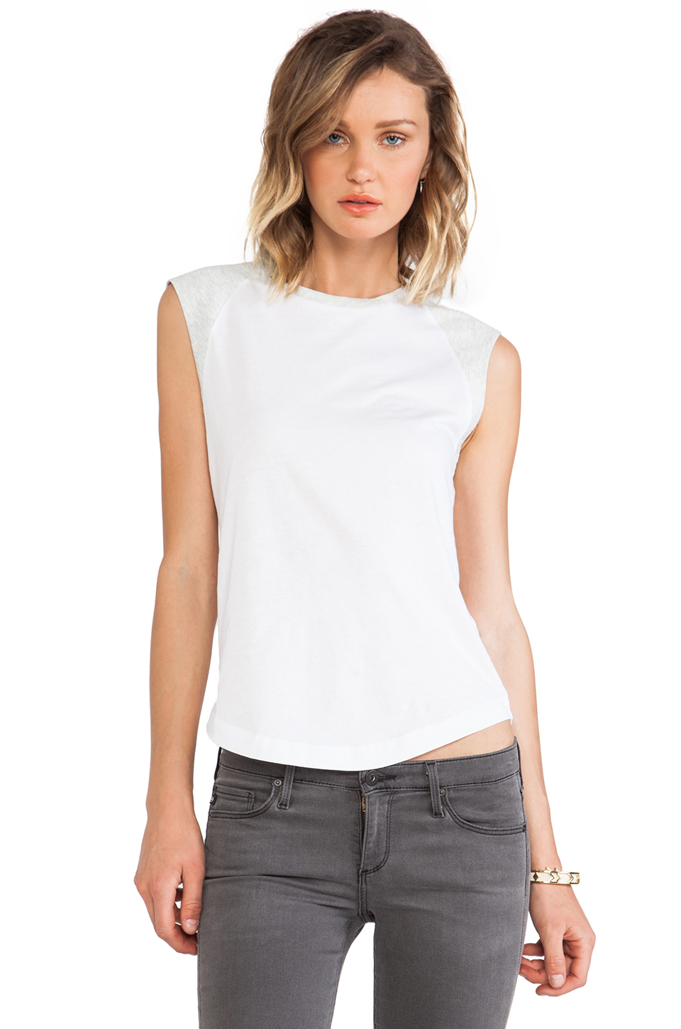 DemyLee Alessandra Tee in White & Light Heather Grey | REVOLVE