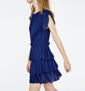 dress,blue dress,blue,cocktail dress,spring dress,maje,ruffle,ruffle dress,pleated dress,royal blue dress