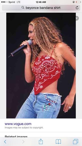 top red bandana print beyonce beyoncé shirt