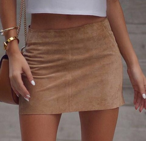 Skirt: brown suede, white, white crop tops, gold, fashion, mini ...
