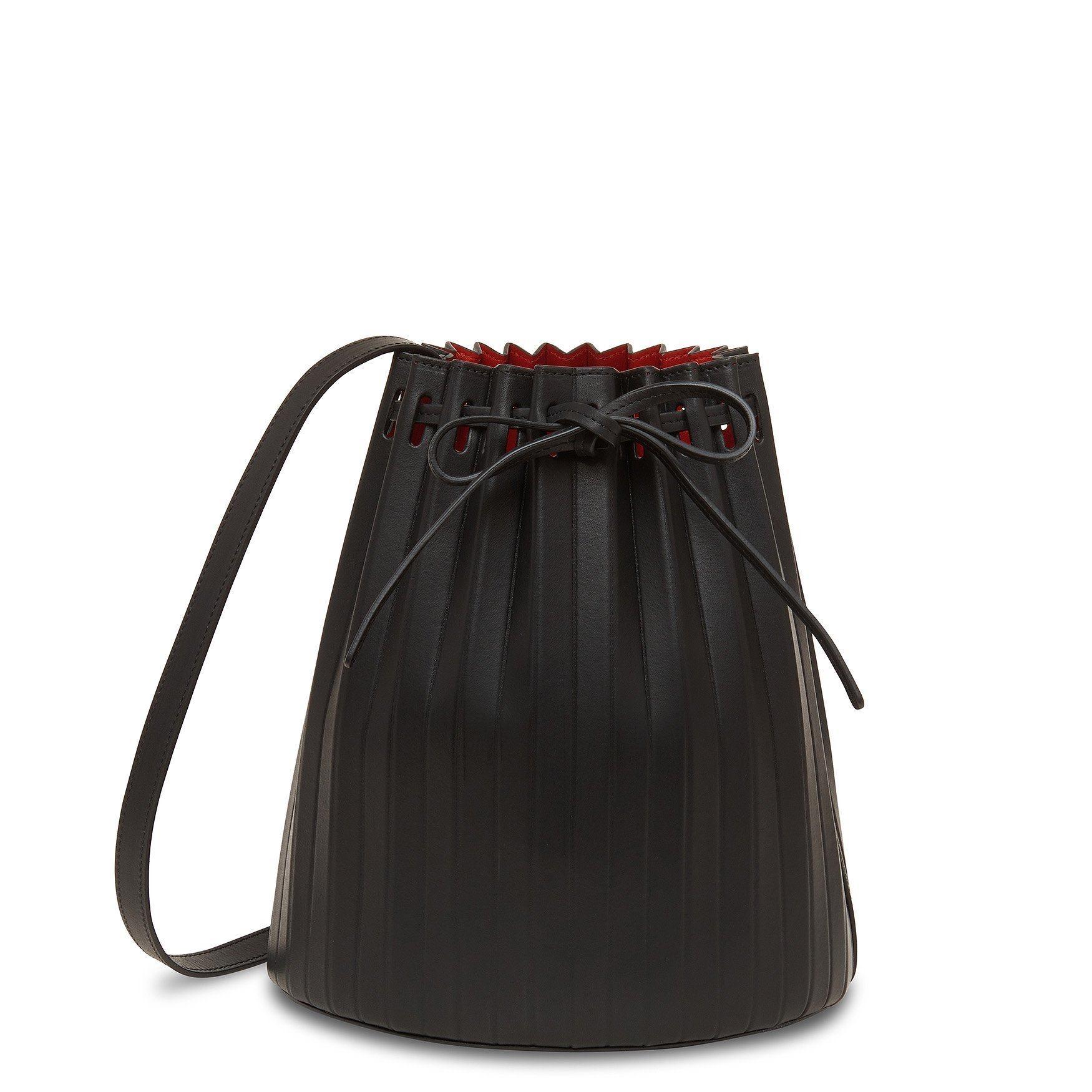 Black Pleated Bucket Bag - Flamma
