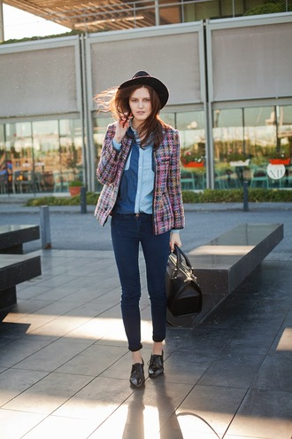 the bow-tie jacket shirt jeans hat bag