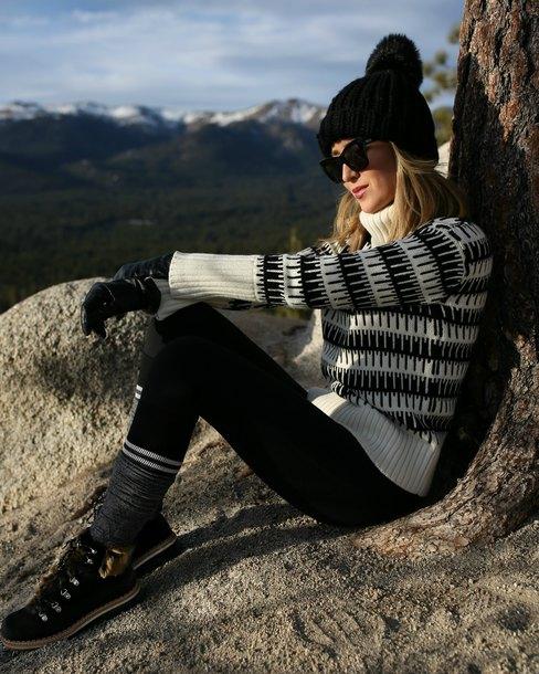 memorandum blogger sweater pants shoes hat sunglasses beanie winter outfits