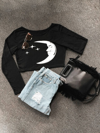 top black crop tops moon long sleeves trendy black and white casual zaful