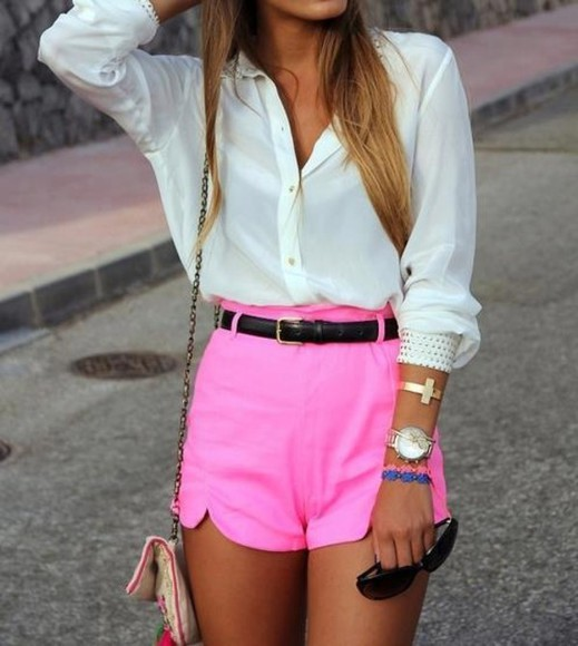 shorts blouse pink shorts white long sleeve purse sunglasses bracelet jewels shirt pink pinky belt
