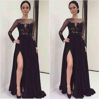 dress black dress mesh prom slit dress