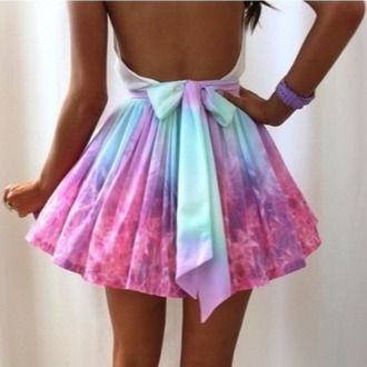 skirt tiedye pink dress blue dress purple dress white dress