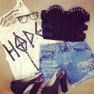 tank top hope tshirt crop tops ripped tops summer adore adorable t-shirt