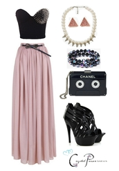 bag,dress,studded,maxi dress,bustier,corset,pearl,fashion,chanel,shirt,skirt,shoes