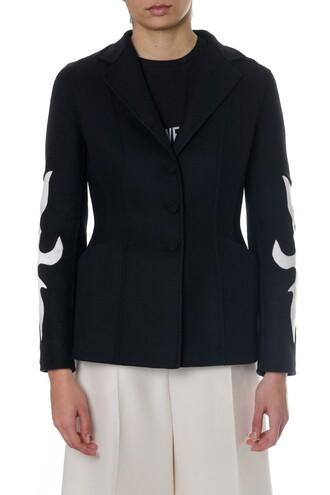 blazer decoration white wool black jacket