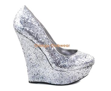 "PLEASER Womens Sexy Silver Glitter Wedges 6"" High Heels Wedge Pumps Club Shoes 