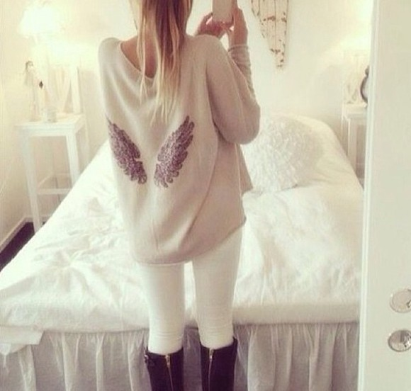 jumper cream cardigan wings sweater shoes angel wings beige t-shirt pullover nice beautyful fashion love pink