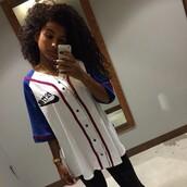 top,white jersey,nike,jersey,sportswear,dope,style,swag,girl,dipe girls,tumblr,instagram,baseball jersey,boys shirts,boys jersey