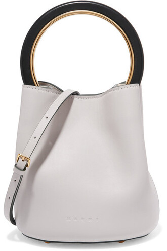 mini bag bucket bag leather white