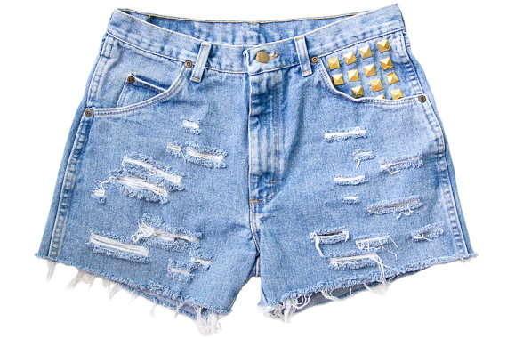 Studded Shorts Vintage Distressed High Waisted by floralfireworks