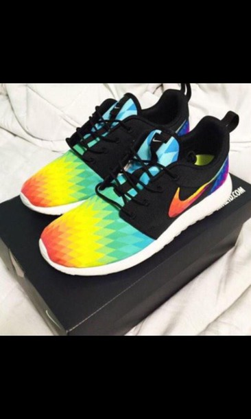 shoes nike roshe runs white speckled nike roshe run rainbow nike nike roches nike roshe run cute colorful sneakers kicks cool pretty exactly like those or close colorful nikes nike sneakers multicolor roshe runs