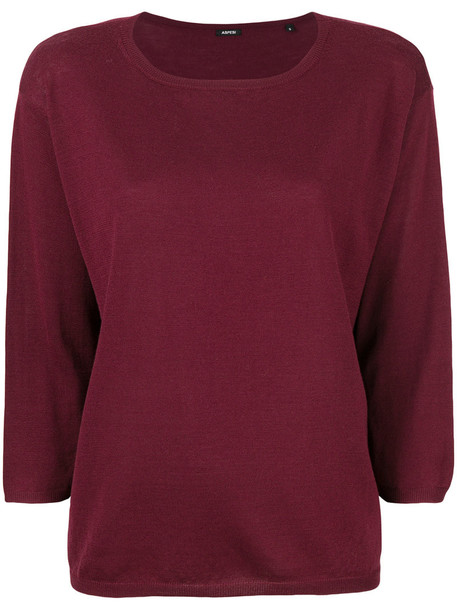 Aspesi - deep U-neck jumper - women - Wool - S, Red, Wool