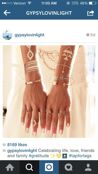 jewels boho bohemian gypsy ring bracelets make-up temporary tattoo lifestyle boho jewelry