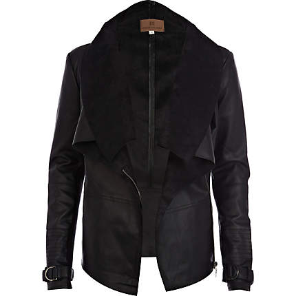 Black Leather Waterfall Jacket