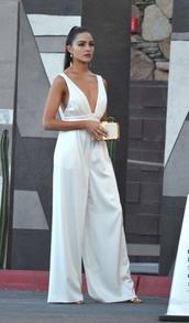 jumpsuit,white,white pants,plunge v neck,olivia culpo,wide-leg pants,coachella,festival