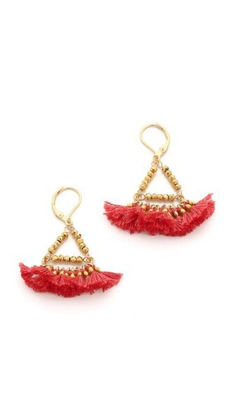 earrings red jewels