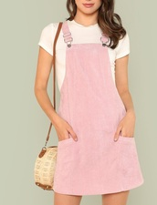 dress,girly,girl,girly wishlist,pink,suspenders,overalls,overall dress,pink dress,suede