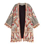 jacket,kimono,coachella,boho,embellished,pom poms,embroidered,h&m