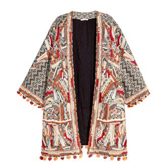 jacket kimono coachella boho embellished pom poms embroidered h&m