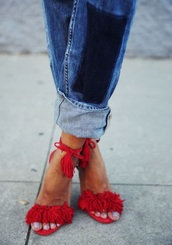 shoes,sandals,red sandals,fringe sandals,jeans,aquazzura,Aquazzura sandals,red,high heel sandals,fringe shoes,red heels,tassel,suede shoes