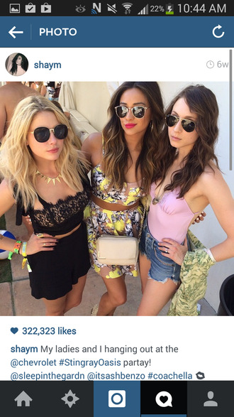 shirt black crop top lace crop top yellow crop top pretty little liars skirt sunglasses top ashley benson shay mitchell troian bellisario crop tops black lace black shorts denim shorts pink top
