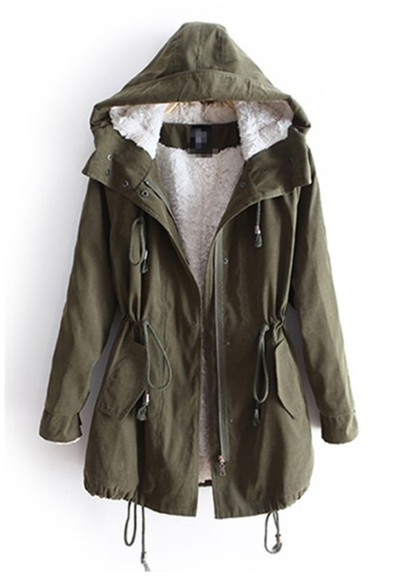 jacket army green sherpa lined